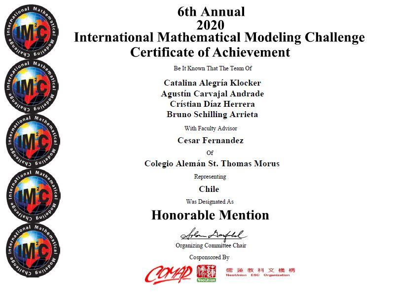 Los Cinco Puntos Cardinales obtienen Mención Honrosa en el International Mathematical Modelling Challenge (IM 2 C)